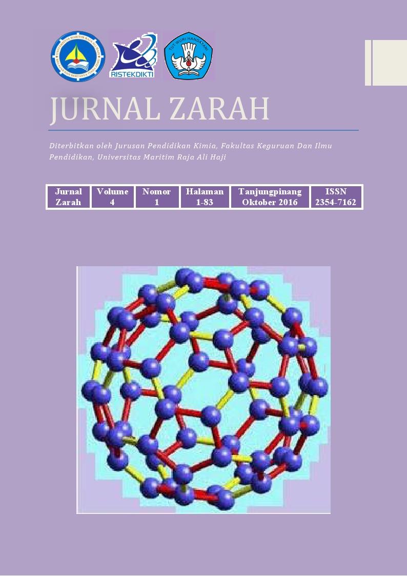 Jurnal Zarah Pendidikan Kimia UMRAH vol IV 2016