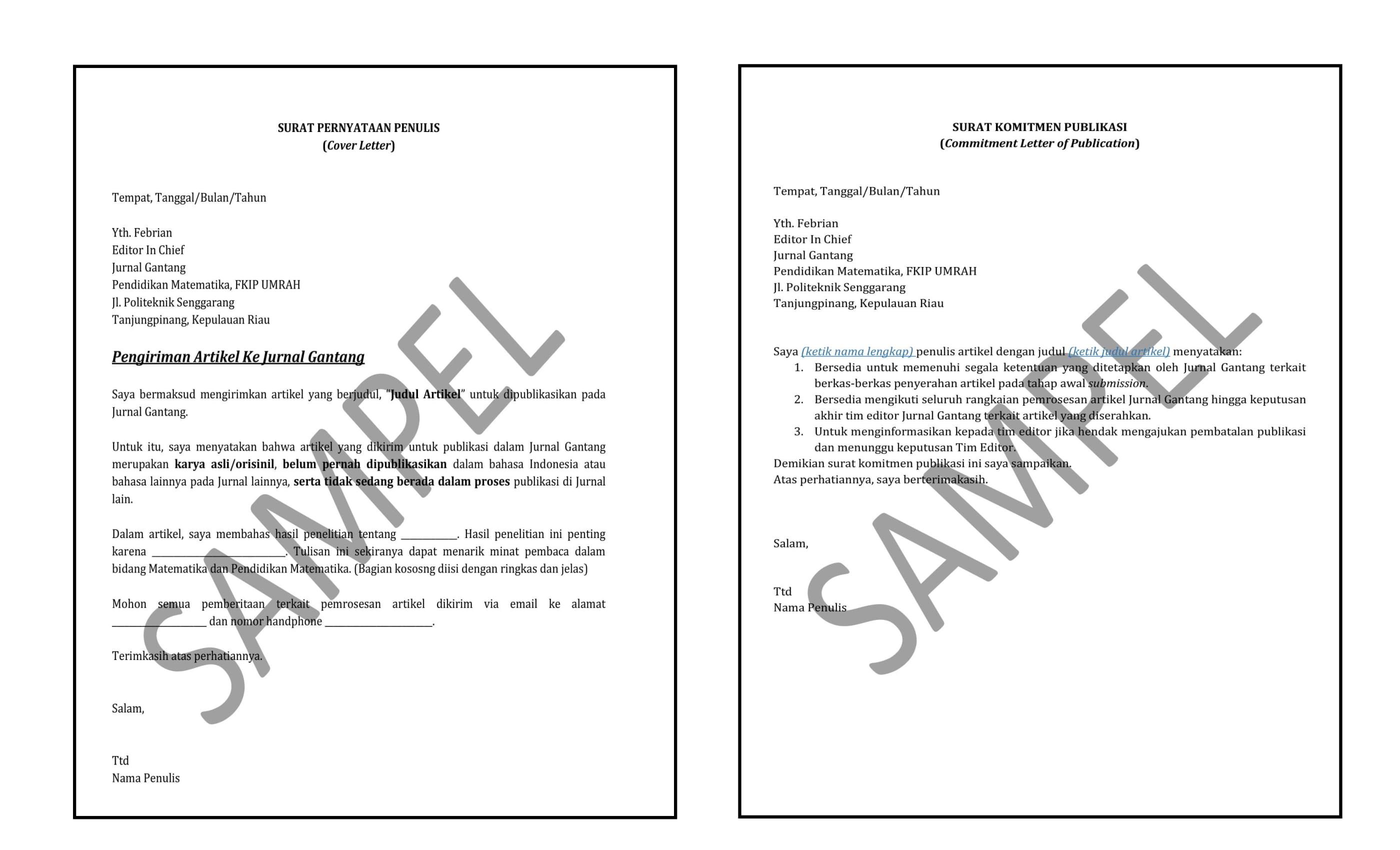 Surat Pernyataan Dan Komitmen Publikasi Penulis Jurnal Gantang