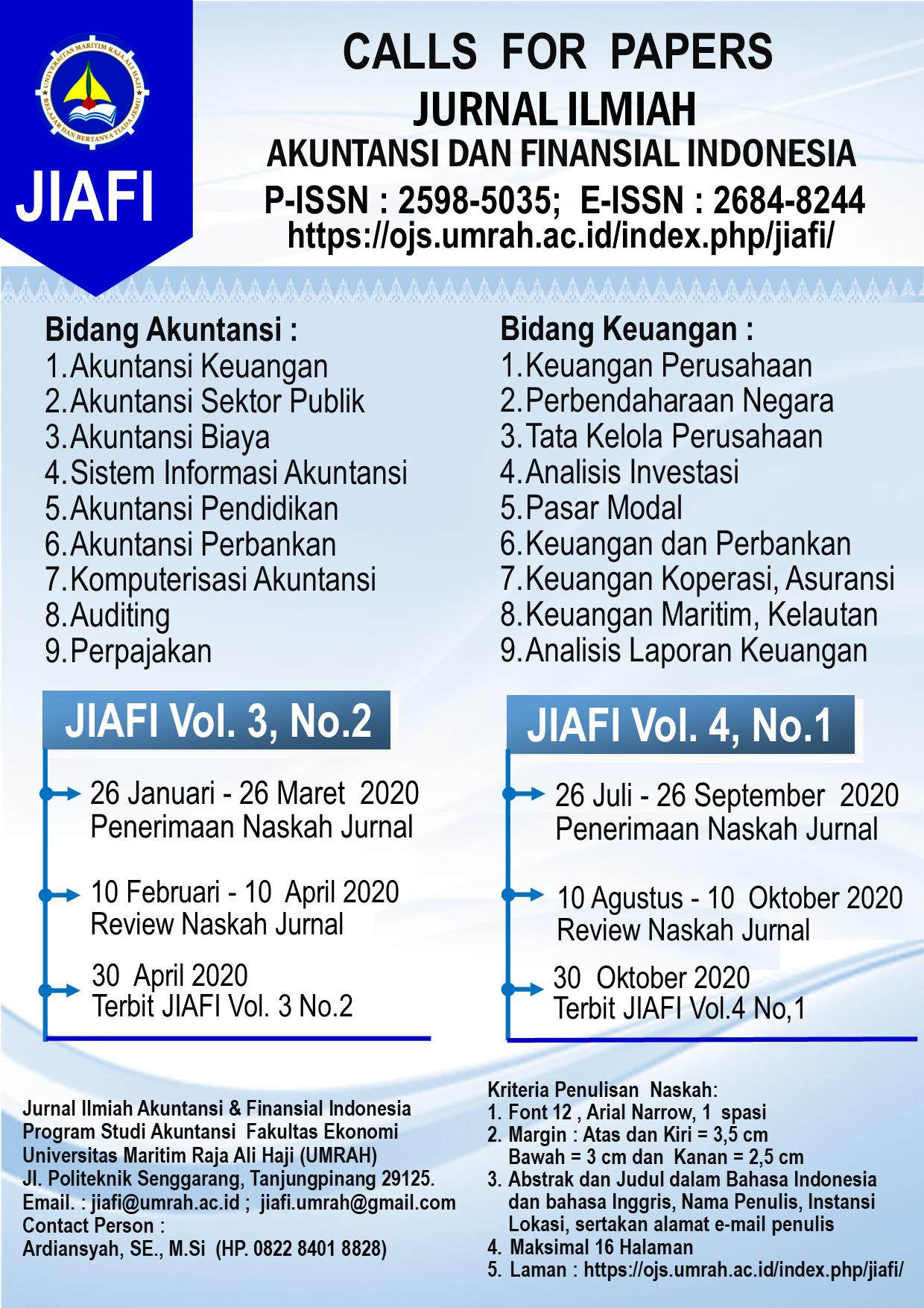 Jurnal Ilmiah Akuntansi Dan Finansial Indonesia